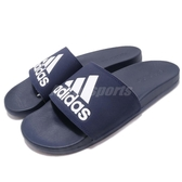 adidas 拖鞋 Adilette Cloudfoam Plus Logo Slides 藍 白 運動拖鞋 男鞋 涼拖鞋 舒適好穿【PUMP306】 B44870
