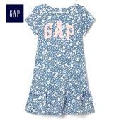 Gap女嬰幼童 純棉可愛印花荷葉邊短袖洋裝 356595-徽標印花