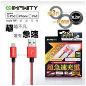衝評衝量衝低價 超狂新品牌 Infintiy 蘋果線lightning  MFI 0.2M 原廠認證晶片+最耐編織材質