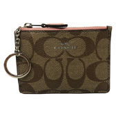 【COACH】經典C LOGO PVC皮革零錢包鑰匙包悠遊卡(薔薇粉)