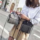 鏈條手機包女新款時尚迷你小包韓版單肩斜背包手機袋圓環包女  潮流衣舍