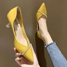 女鞋2020新款春季時尚水鉆百搭尖頭網紅單鞋少女高跟鞋女細跟皮鞋