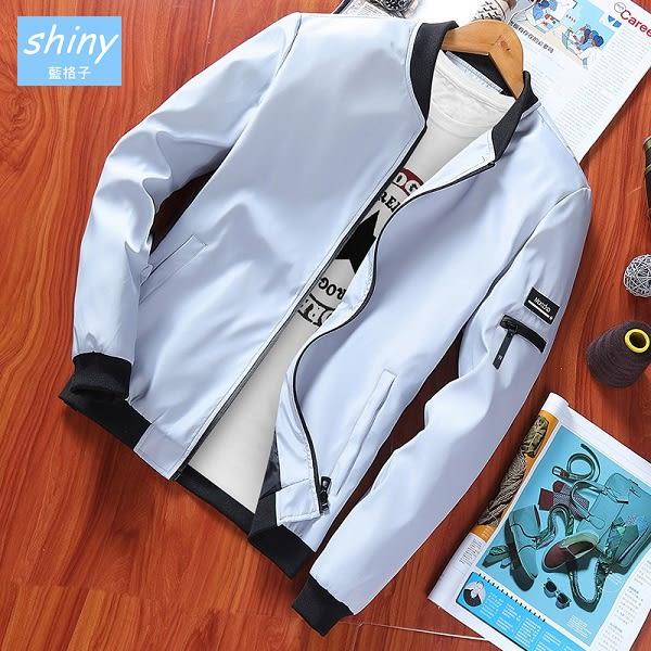 【Y179】shiny藍格子-帥氣休閒.春秋修身薄款長袖拉鍊外套