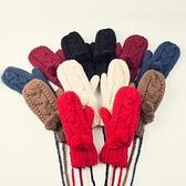 針織手套-羊毛毛球手工編織連指可掛脖女手套6色73or14【巴黎精品】
