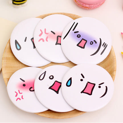 [24hr-快速出貨] 韓國 顏文字表情 可愛卡通 便攜 小鏡子 化妝鏡 隨身鏡 美容鏡 隨身鏡