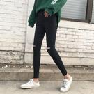 促銷九折 春秋新款韓版修身褲子顯瘦學生小腳鉛筆褲黑色破洞牛仔褲女九分褲