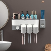 牙刷置物架刷牙杯漱口掛牆式衛生間免打孔壁掛網紅壁式盒牙具套裝[快速出貨]