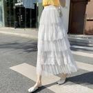 網紗裙半身裙 網紗蛋糕裙春夏新款今年流行裙子半身裙女中長款仙女白色紗裙 生活主義
