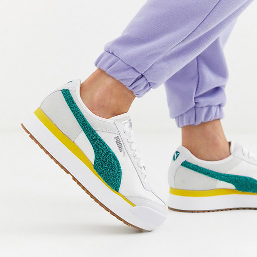 R-PUMA Roma Amor Heritage Wns 黃綠 女鞋 運動鞋 增高 厚底 休閒 慢跑鞋 膠底 370947-04