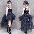 女童黑色晚禮服拖尾兒童生日公主裙t臺模特主持走秀鋼琴演出服夏 快速出貨