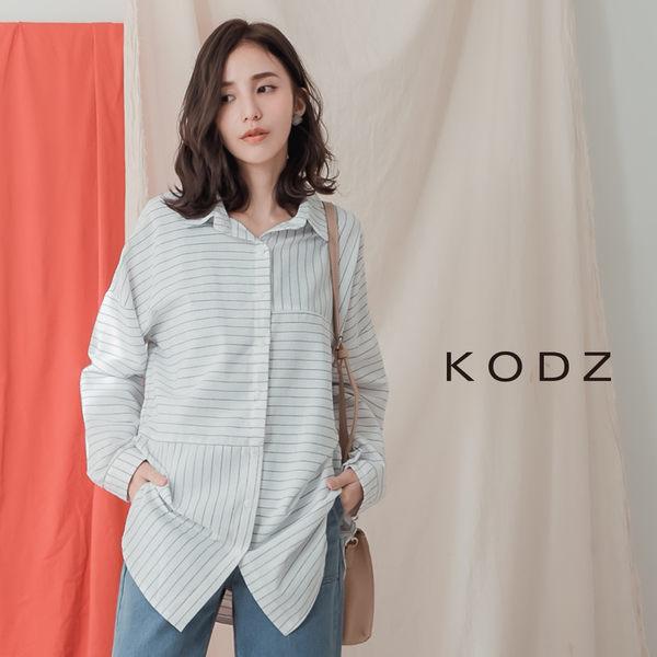 東京著衣【KODZ】KODZ-知性女人不規則條紋經典襯衫-S.M.L(190059)