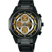 WIRED SOLAR 限量潮流玩家太陽能計時手錶-金x黑/42mm V176-0AK0SD(AY9007X1)