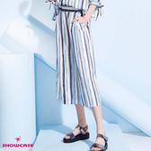 【SHOWCASE】雪紡波西米亞風藍條紋七分寬褲(藍)