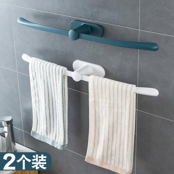 簡約毛巾架衛生間無痕收納置物架浴室免打孔塑料創意單桿浴巾掛架 NMS小明新品