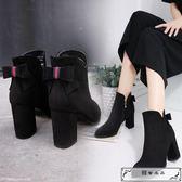 鞋子女2018新款女鞋冬保暖粗跟高跟鞋切爾西靴馬丁靴短靴女棉靴子