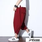 飛鼠褲 中國風夏季新款男士寬鬆全棉闊腿蘿卜褲潮唐裝大碼哈倫休閒七分褲 酷男