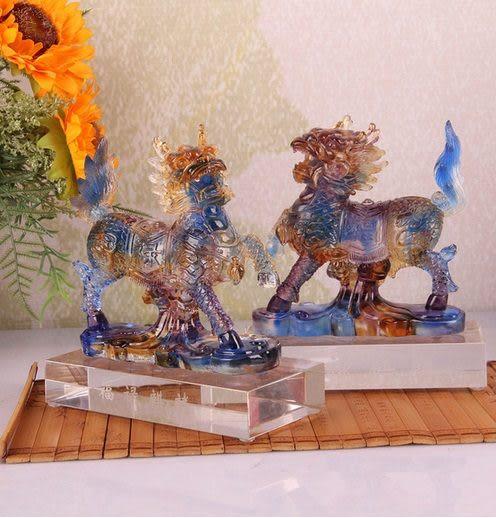 琉璃水晶福祿麒麟裝飾品擺件一對