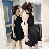 掛脖小黑裙夜店裙子女夏新款氣質復古收腰禮服法國小眾洋裝 卡布奇諾