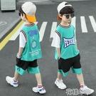 男童套裝男童速幹籃球服運動短袖男孩夏裝季天套裝新款洋帥氣中大兒童 快速出貨