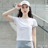 短袖T恤 純棉短款短袖t恤女修身韓版學生夏季新款純色高腰顯瘦露臍上衣女 快速出貨