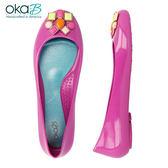 【Oka-B】RISDEN彩色琺瑯墜飾芭蕾平底娃娃鞋/包鞋  映山紅(K05271-ROS)