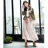 秋冬7折[H2O]針織拼接雙色蕾絲蛋糕裙長版洋裝 - 卡/淺藍色 #0634005