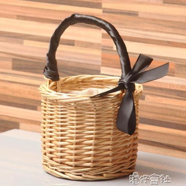迷你野餐籃柳編菜籃子手提包包花收納筐水果籃包裝籃拍照道具花籃 港仔HS