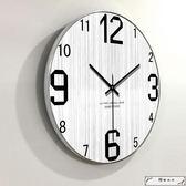 現代簡約時尚客廳掛鐘創意北歐個性木質木紋靜音鐘表時鐘石英壁鐘