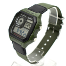 CASIO手錶軍綠地圖電子帆布錶NEC160