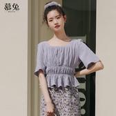 紫色短袖方領雪紡衫女夏2020新款韓版高腰短款露鎖骨心機上衣小衫