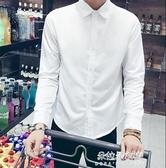 襯衫 長袖白襯衫男韓版潮流修身襯衣男士商務正裝職業寸衫工作服