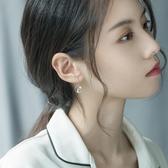 S925銀慵懶法式耳環女氣質韓國個性百搭耳釘貓咪吊墜短款學生耳飾