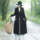 秋季新款大碼女裝文藝刺繡中式盤扣民族風長袖提花修身風衣外套「爆米花」