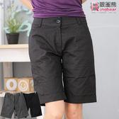 五分褲--完美修飾前斜車線下擺反折素面五分褲(黑.灰M-6L)-R84眼圈熊中大尺碼★