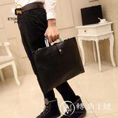 2018新款 韓版英倫復古男士女士手袋Ipad公文包手提單肩包文件包