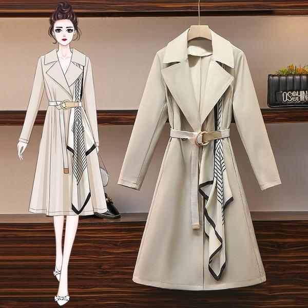 VK旗艦店 韓系圍巾風衣修身顯瘦大衣外套長袖洋裝