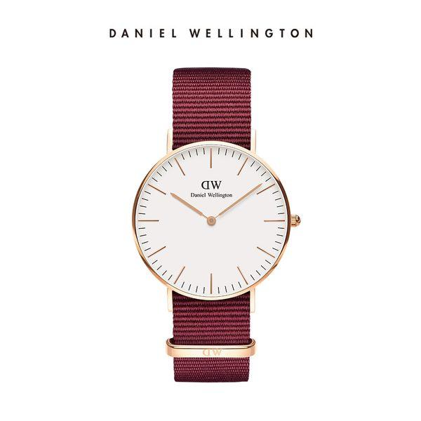 DW手錶Classic 玫瑰紅織紋手錶