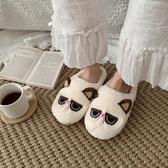 韓版可愛ins卡通呆萌貓咪棉拖鞋女冬室內居家用防滑毛絨鞋  極有家