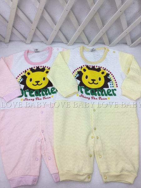 ☆╮寶貝丹童裝╭☆ 台灣製造 男女寶寶 獅子 長袖 BABY 太空衣 美式連身衣 前開扣 連身裝 包屁衣