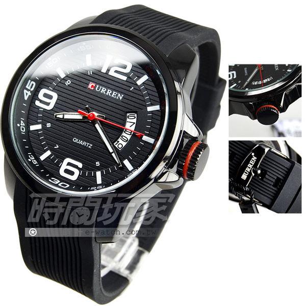 CURREN 潮男時尚腕錶 男錶 日期顯示視窗 大錶盤 飛行錶 學生錶 數字錶 橡膠錶帶 CU8174IP黑