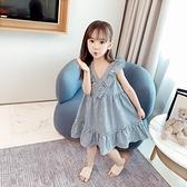 女童夏裝洋裝2021新款韓版兒童夏季洋氣公主裙無袖格子背心裙子