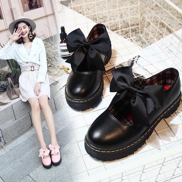 洛麗塔小皮鞋軟妹百搭ulzzang日系單鞋可愛圓頭學生蝴蝶結娃娃鞋  極有家