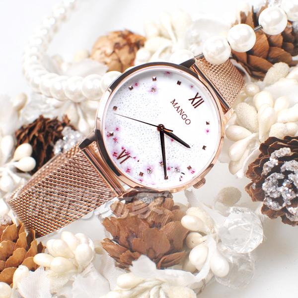(活動價) MANGO 原廠公司貨 櫻吹雪 日系風格 羅馬時刻 不鏽鋼 米蘭帶 女錶 玫瑰金電鍍 MA6758L-80R
