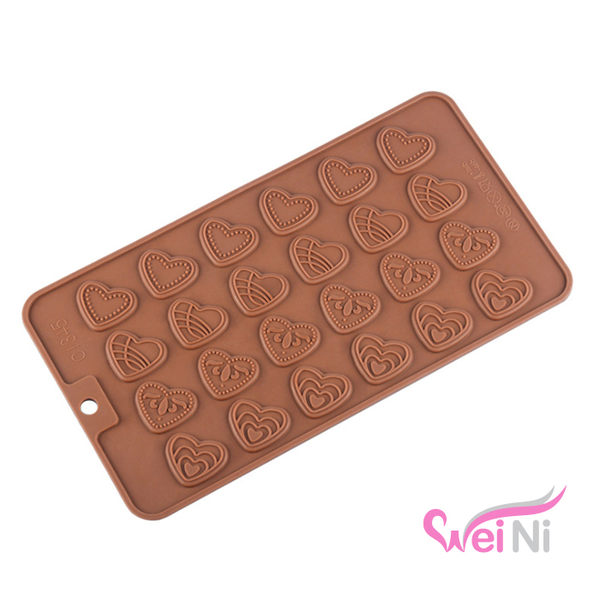 wei-ni 矽膠模 扁狀愛心造型 24連 蛋糕模 矽膠模具 巧克力模型 冰塊模型 餅乾模具 DIY