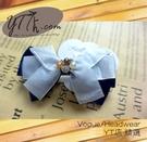 【YT店髮飾】韓風藍白緞帶珠飾蝴蝶結髮夾/髮飾/頭飾/彈簧夾(G006)