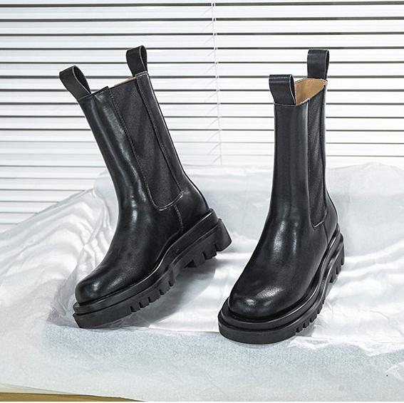 真皮靴 女鞋 女靴 厚底馬丁靴 英倫風 皮革短靴 切爾西馬丁靴 中筒靴 皮革靴 直接套 N8084◆奧森