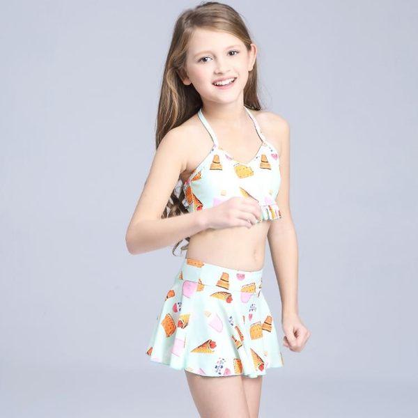 【新年鉅惠】新款兒童泳衣女童裙式分體蕾絲比基尼三件套溫泉中大童女孩游泳裝