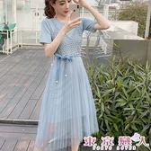 短袖洋裝 韓版針織連衣裙+針織蕾絲網紗裙二件式★東京戀人MS.Q★8774