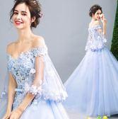 仙到爆藍色花瓣新娘婚紗敬酒服晚宴年會禮服igo 傾城小鋪