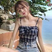 夏季女裝新款韓版蝴蝶結綁帶抹胸上衣小清新短款格子吊帶露肩背心